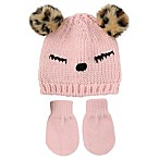 Rising Star™ Newborn 3-Piece Sleepy Eye Hat and Mitten Set in Pink