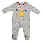 "Sterling Baby Newborn ""Super Star"" Fleece Footie in Grey"