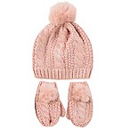 Rising Star™ Newborn 3-Piece Pom Hat and Mitten Set in Pink