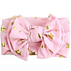Tiny Treasures Bow Headband with Gold Stars in Pink