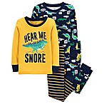 carter's® Size 12M 4-Piece Dinosaur Snug-Fit Cotton Pajama Set in Yellow/Navy