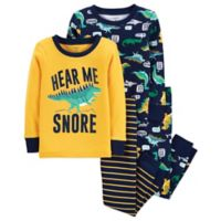 carter's® Size 18M 4-Piece Dinosaur Snug-Fit Cotton Pajama Set in Yellow/Navy