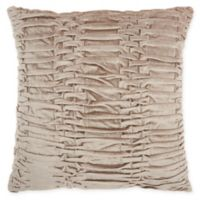 Mina Victory By Nourison Pleated Velvet Square Throw Pillow in Beige