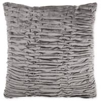Mina Victory By Nourison Pleated Velvet Square Throw Pillow in Dark Grey