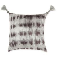 Mina Victory By Nourison Tie Dye Velvet Square Throw Pillow in Black/Silver