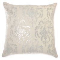 Mina Victory By Nourison Distressed Damask Square Throw Pillow in Ivory