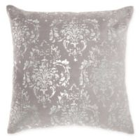 Mina Victory By Nourison Distressed Damask Square Throw Pillow in Light Grey
