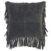 Mina Victory By Nourison Fringe Borders Square Throw Pillow in Grey