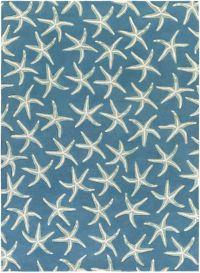 Surya Lighthouse Starfish 8' x 11' Area Rug in Blue/Green