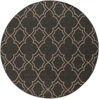 Surya Modern Quatrefoil Indoor/Outdoor 8'9 Round Rug in Black