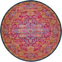 Surya Vintage Geometric 5'3 Round Area Rug in Garnet