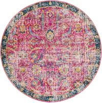 Surya Harput Vintage 5'3 Round Area Rug in Red/Blue