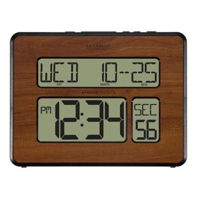 La Crosse Technology Atomic Wall Clock with White Backlight in Walnut