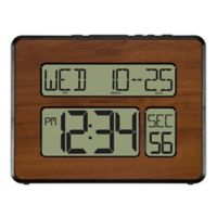 La Crosse Technology Atomic Wall Clock with White Backlight in Walnut