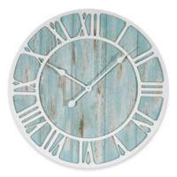 La Crosse Technology 23.5-Inch Round Coastal Clock in Blue