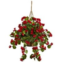 Nearly Natural 28-Inch Artificial Geranium Indoor/Outdoor Hanging Plant