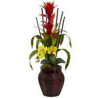 Nearly Natural 32-Inch Artificial Bromeliad and Yellow Orchid Arrangement with Planter