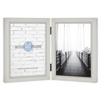 Gallery Hinged 2-Photo 5-Inch x 7-Inch Wood Picture Frame in Light Grey