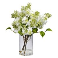 Nearly Natural 15-Inch Artificial Lilac Flower Arrangement with Vase