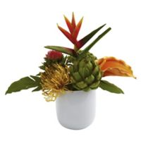Nearly Natural 14-Inch Artificial Tropical Floral Arrangement with White Glass Vase