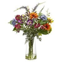 Nearly Natural 24-Inch Artificial Spring Garden Floral Arrangement with Vase