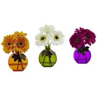 Nearly Natural 9-Inch Artificial Gerber Daisies with Colored Vases (Set of 3)