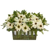 Nearly Natural 12-Inch Artificial Daisy Arrangement with Decorative Planter
