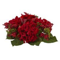 Nearly Natural 14-Inch Hydrangea & Berry Candelabrum