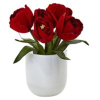 Nearly Natural 8.5-Inch Tulips Arrangement in White Glass Vase