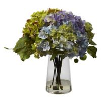 Nearly Natural 11-Inch Hydrangea Arrangement with Glass Vase