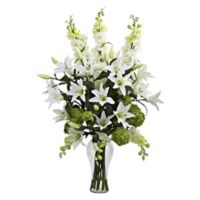 Nearly Natural 33-Inch Lily, Delphinium & Snowball Hydrangea Arrangement with Glass Vase