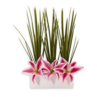 Nearly Natural 23-Inch Grass and Lily Artificial Arrangement in Pink/White
