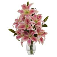 Nearly Natural 18-Inch Rubrum Lily in Decorative Vase in Pink