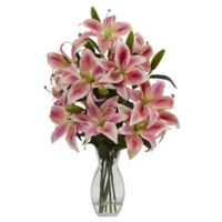 Nearly Natural 18-Inch Rubrum Lily Artificial Arrangement in Vase in Pink