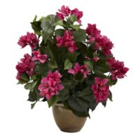 Nearly Natural 19-Inch Bougainvilla Arrangement with Ceramic Vase