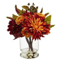 Nearly Natural 12-Inch Dahlia Mum Arrangement with Glass Vase