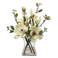 Nearly Natural 15-Inch Artificial Magnolia Arrangement in White with Vase