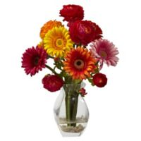 Nearly Natural 15-Inch Artificial Gerber Daisy and Ranunculus Delight Arrangement