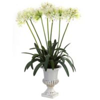 Nearly Natural 34-Inch African Lily Artificial Arrangement with Urn in White