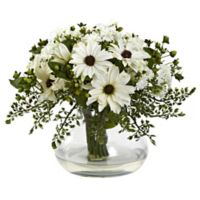 Nearly Natural 12-Inch Mixed Daisy Arrangement in Vase in White