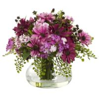 Nearly Natural 12-Inch Mixed Daisy Arrangement in Vase in Pink