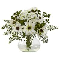 Nearly Natural 11.5-Inch Mixed Daisy Arrangement in Vase in White