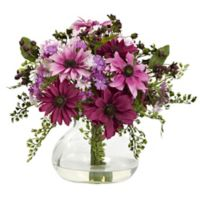 Nearly Natural 11.5-Inch Mixed Daisy Arrangement in Vase in Pink