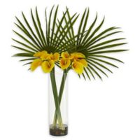 Nearly Natural 41-Inch Fan Palm and Calla Lily Artificial Arrangement in Yellow