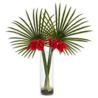 Nearly Natural 41-Inch Fan Palm and Calla Lily Artificial Arrangement in Red