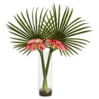 Nearly Natural 41-Inch Fan Palm and Calla Lily Artificial Arrangement in Pink