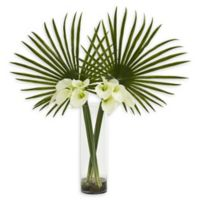 Nearly Natural 41-Inch Fan Palm and Calla Lily Artificial Arrangement in Cream