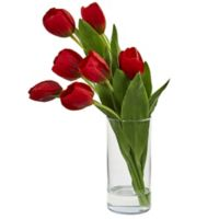 Nearly Natural 16-Inch Tulip Arrangement in Cylindrical Vase in Red