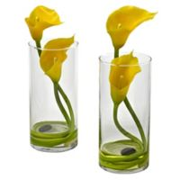 Nearly Natural 10.5-Inch Double Calla Lily in Vase in Yellow (Set of 2)