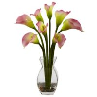 Nearly Natural 16-Inch Calla Lily Arrangement in Vase in Pink